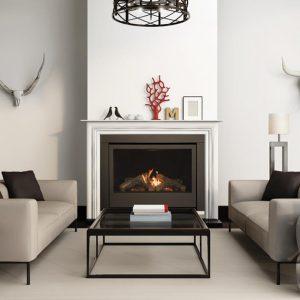 Grey interior fireplace modern atmospheric lounge living room