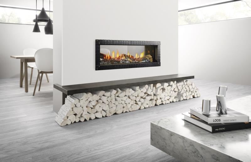 Heat & Glo Gas Fireplace , Mezzo See-Through Direct Vent Gas Fireplace